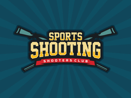 Modern professional emblem shooting for shooters club in blue theme. Illustration