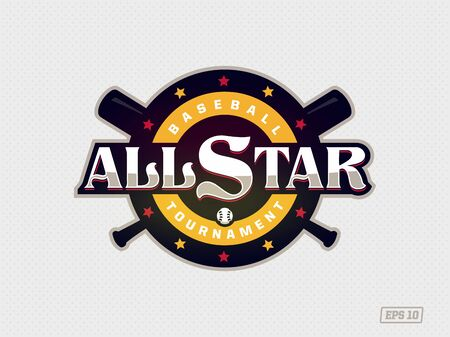 Modern professional emblem all star for baseball game in yellow theme