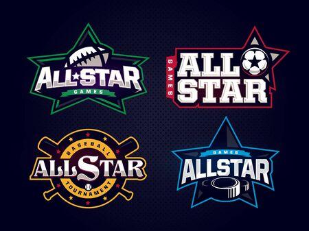 Emblema professionale moderno all star collection per lo sport