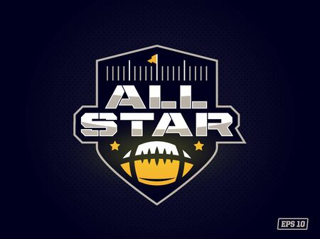 Modern professional emblem all star for american football game in yellow theme