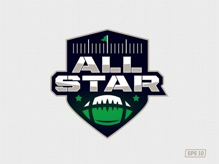 Modern professional emblem all star for american football game in green theme