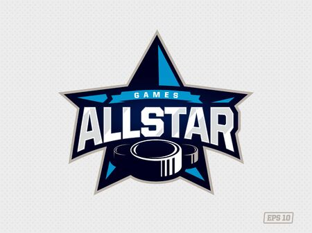Modern professional emblem all star for hockey game in blue theme Ilustrace