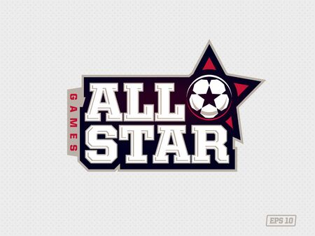 Modern professional emblem all star for soccer game in red theme Ilustrace