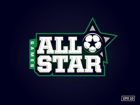 Modern professional emblem all star for soccer game in green theme