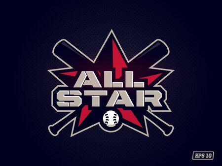 Modern professional emblem all star for baseball game in red theme