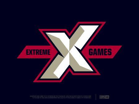 Modern professional letter emblem for extreme games.