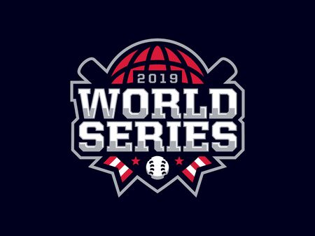Modern professional emblem world series for baseball games.