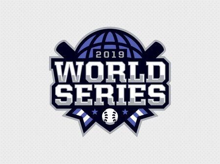Série mondiale d'emblèmes professionnels modernes pour les matchs de baseball. Vecteurs
