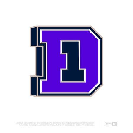 Modern professional letter emblem for sport teams. D letter.