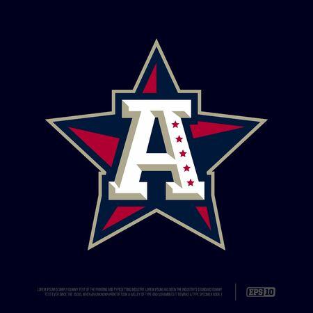 Modern professional letter emblem for sport teams. A letter.
