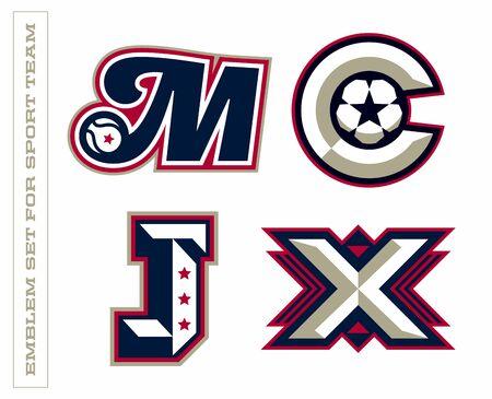 Modern professional letter emblems for sport teams. M C J X letter. Ilustrace