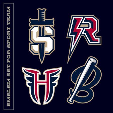 Modern professional letter emblems for sport teams. S R H B letter. Ilustrace