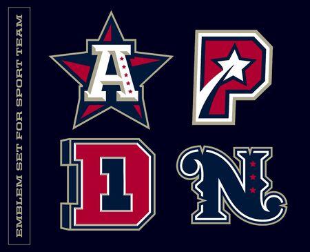 Modern professional letter emblems for sport teams. A P D N letter. Ilustrace