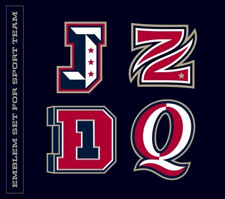 Modern professional letter emblems for sport teams. J Z D Q letter.