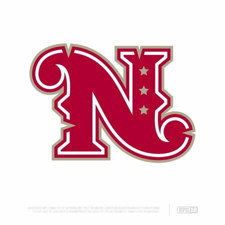 Modern professional letter emblem for sport teams. N letter.