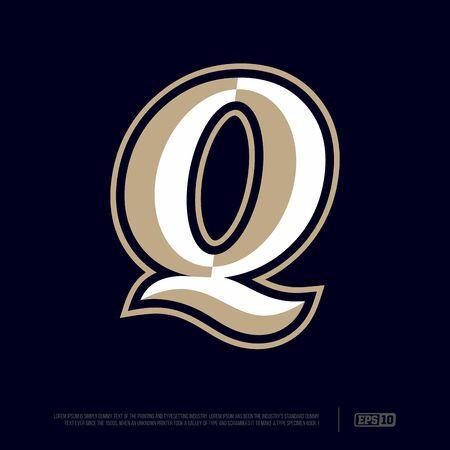 Modern professional letter emblem for sport teams. Q letter.