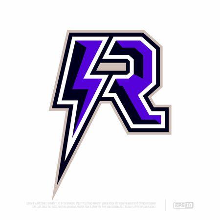 Modern professional letter emblem for sport teams. R letter.