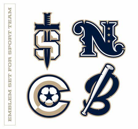 Modern professional letter emblems for sport teams. S N C B letter.