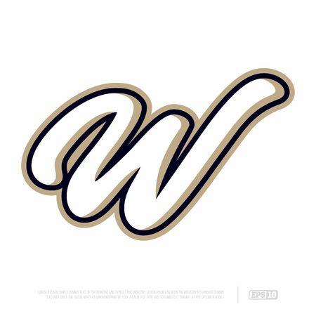 Modern professional letter emblem for sport teams. W letter.