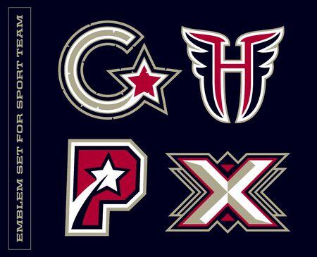 Modern professional letter emblems for sport teams. G H P X letter.