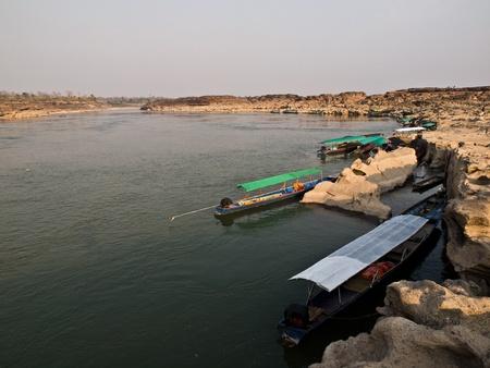 kong river: boat in Kong River at Thailand