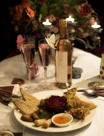 diner romantique: d�ner dans valentin Banque d'images
