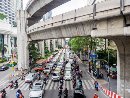 BANGKOK, THAILAND- October 07, 2014:Traffic jam on Ratchaprasong intersection, famous intersection for shopping in Pathum Wan district.