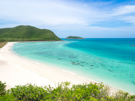 corall: Beautiful view of white beach sand and the sea Stock Photo