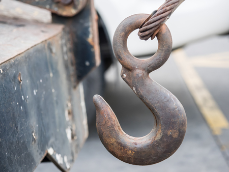 towing: Old metal hook for car towing