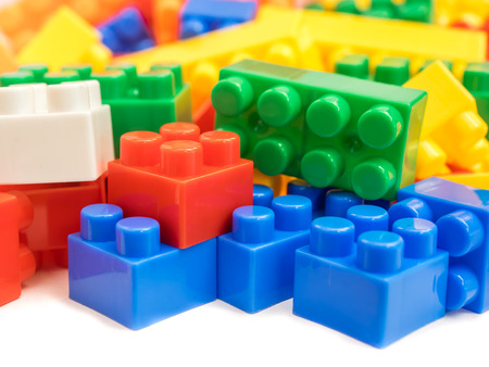 Plastic building blocks, toy for children Banque d'images