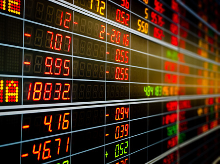 Display board of Stock market quotes. Stockfoto