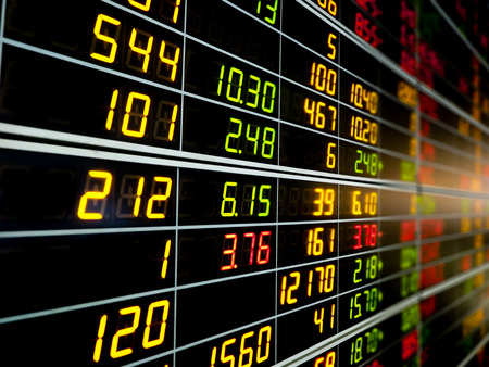 display figure: Display board of Stock market quotes. Stock Photo