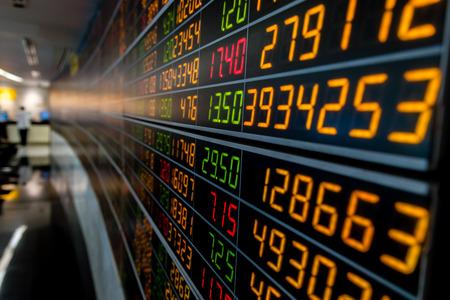 Display board of Stock market quotes. Archivio Fotografico