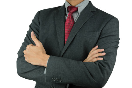 cross arms: Businessman cross arms with thumb up isolated on white background