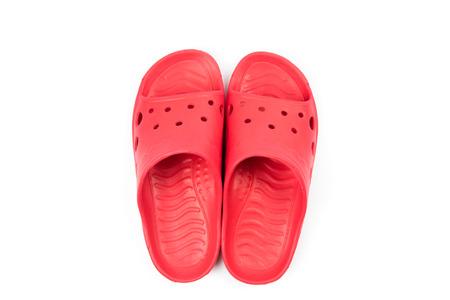 sandalia: Red sandal isolated on white background Foto de archivo