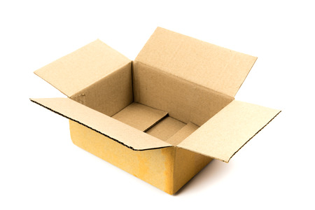An open cardboard box on white background Stock Photo