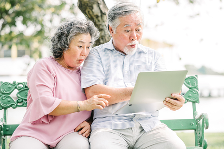 Senior Asian couple feeling surprised and excited while looking at laptop screen in the park Stockfoto