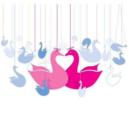 Heart swan hanging Vector