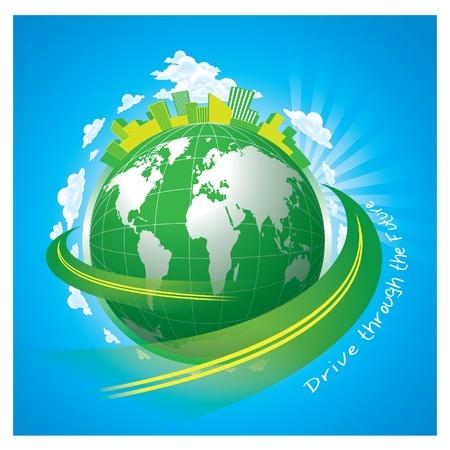 earth logo: GREEN WORLD
