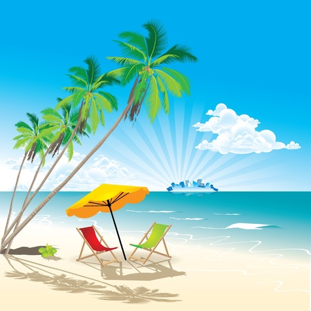 ocean view: Summer Beach Illustration