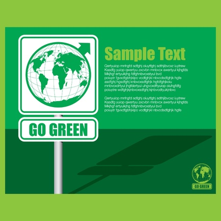 drive around the world: Go Green Background Illustration