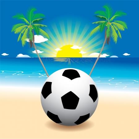 Soccer football on the beach 免版税图像 - 14017917