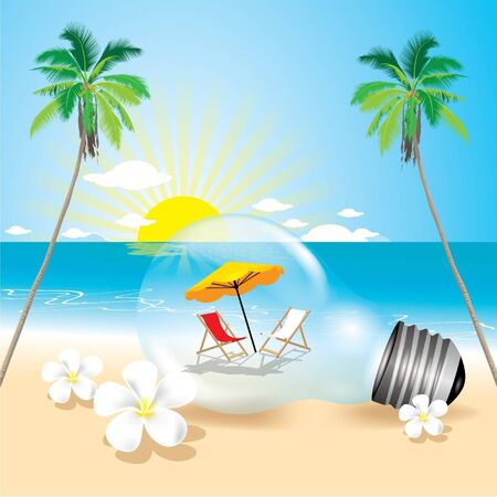 Summer beach in the lamp Vector