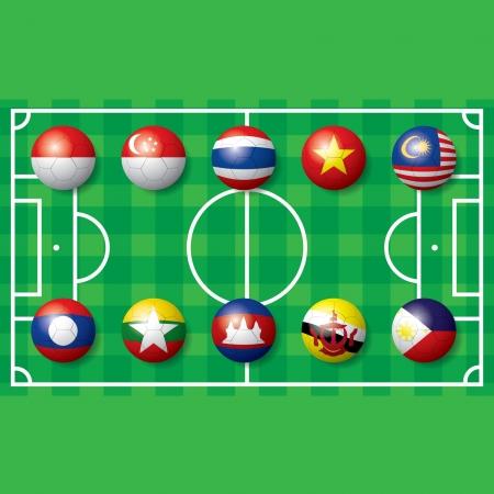 south east asia: Calcio calcio bandiera del Sud Est asiatico