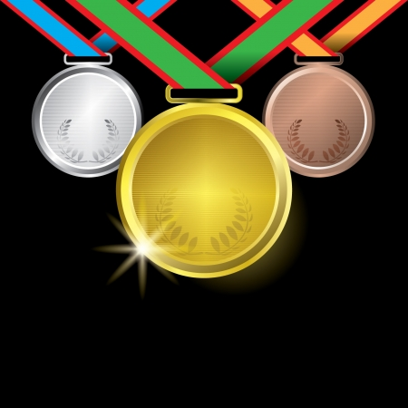 Awards as medals - gold, silver and bronze Illustration