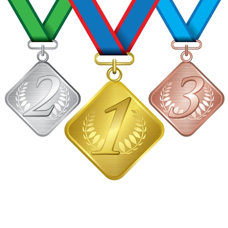 Awards as medals - gold, silver and bronze 矢量图像