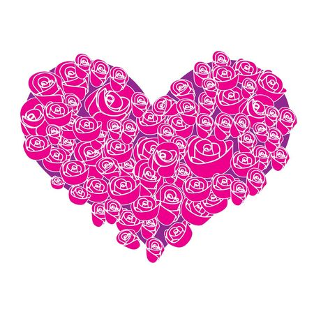 hearty: Rose flower in the heart shaped Illustration