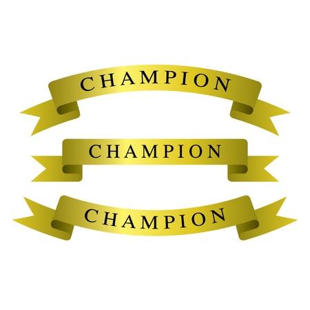 Gold ribbons champion Stock Vector - 14387377