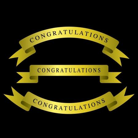 Gold ribbons congratulations Stock Vector - 14387378