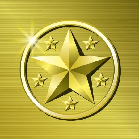 merit: Gold star Illustration